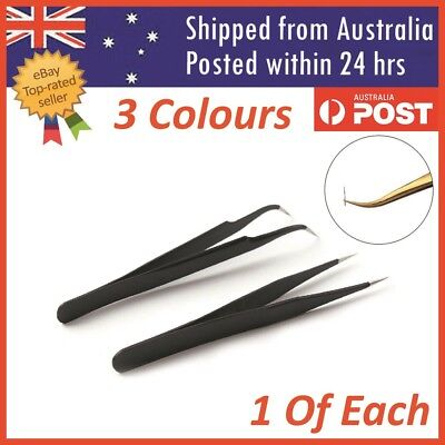 Eyelash Tweezers Eye Lash Clip Remover Tool False Extension Curved Pointed 2 Pcs