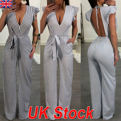 UK Womens Summer Sleeveless Backless Striped Long Pants Jumpsuit Casual Playsuit
