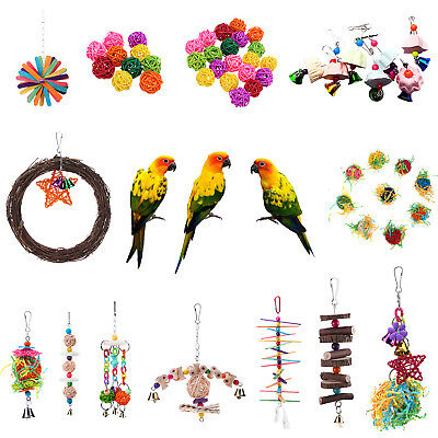 Pet Bird Toy Parrot Rattan Ball Chewing Ball Parakeet Cockatiel Budgie Hang Toys