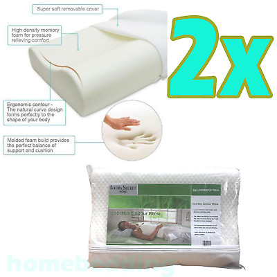 2X Contour CoolMax Quality Zip Off Cover Orthopedic Neck Pain Support Pillow New