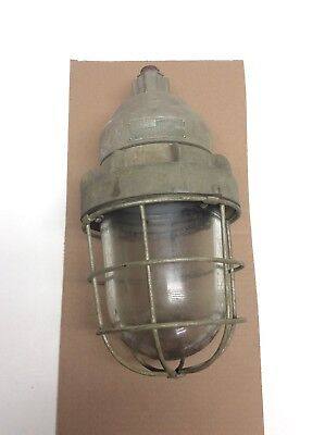 Antique Russell & Stoll Brass Industrial Caged Light Fixture Art Deco Large 16""