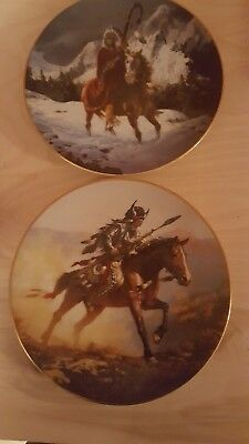 Native american mystic warriors plate lot of 2