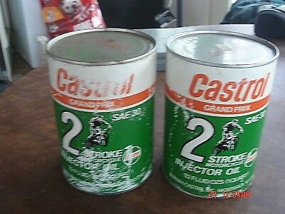 2 Vintage Castrol Grand Prix Motorcycle Oil Can SAE30 Triumph Norton BSA 2-Cycle
