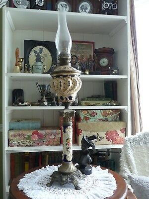 RARE Early 1900's Antique Banquet Lamp Excellent Condition Brass & Hand Painted