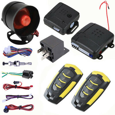 12V Car Alarm Security System Single-tone Vibrator Power Buttons Burglar Lock
