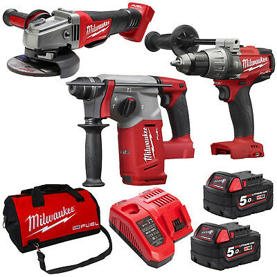 Milwaukee 18V Fuel Brushless Rotary Hammer Drill Angle Grinder Kit - AU STOCK