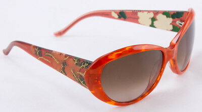 d49cf0d109ac JUDITH LEIBER Orange butterfly frame sunglasses with floral gold accents