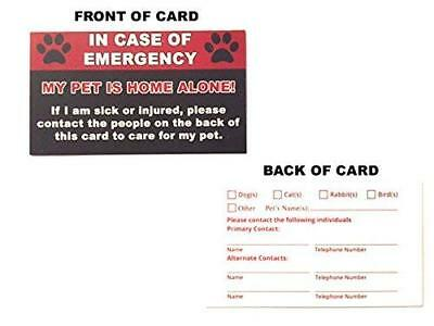 Pet Emergency Care Card (2 pack) - My Pet Is Home Alone Alert In Case of