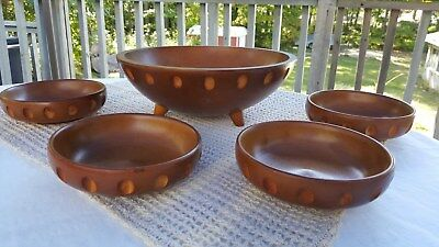 Vintage Teak Wooden Bowl Set Baribocraft Eames Era Mid Century Modern Salad 5 Pc