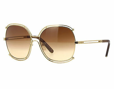 NEW Chloe CE129S 784 Gold Transparent Brown / Brown Gradient Sunglasses