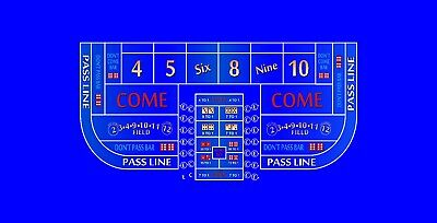 Craps layout single dealer 6 to 8 foot blue discounted