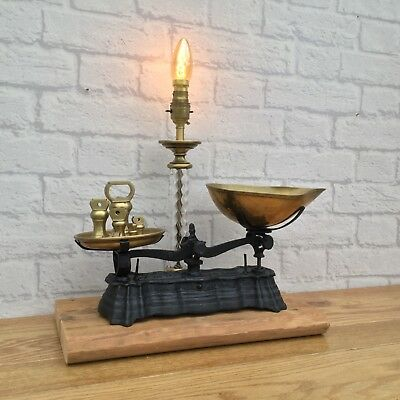 Home Shop Cafe Bar Decor Vintage Rustic French Weighing Scales Lamp