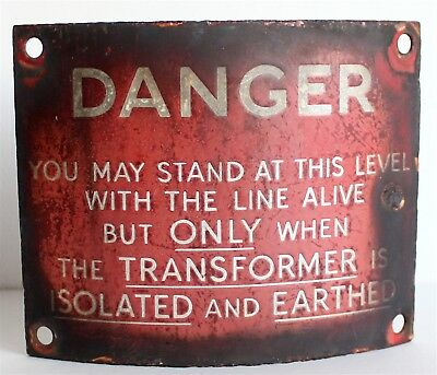 Vintage - Enamel - Danger Sign - Electricity - Railway - telegraph pole - CURVED