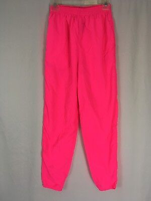 Vintage 80s 90s Womens Tapered Windbreaker Track Pants Neon Pink Dove S/M