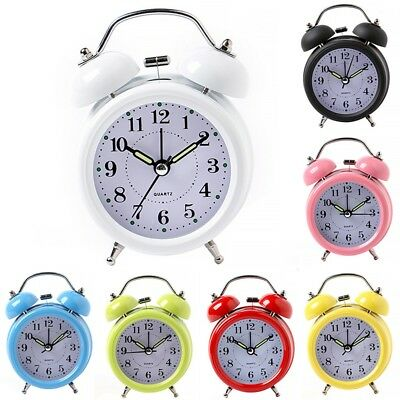 Super Loud Retro Alarm Clock Twin Metal Bell Mute Silent with Nightlight
