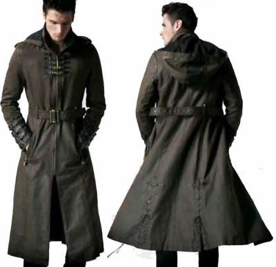 Men's Hooded Steampunk Gothic Military Long Leather Cosplay Costume Trench Coat