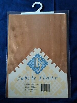 2 sheets Fabric Flair Stitching paper 14ct gold 20.5 x 29.5cm