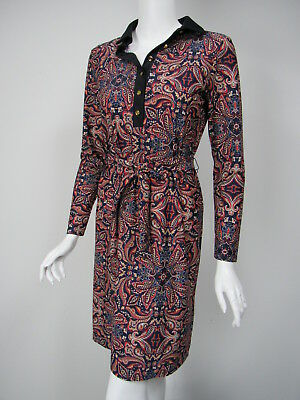 JUDE CONNALLY Bella Timeless Paisley Red Navy Print Belted Dress sz S NWT $218