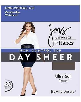 JMS Just My Size Regular Sheer Toe 2X-4X Pantyhose 4-Pack Non Control Top Womens