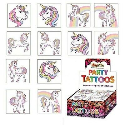 Unicorn Temporary Tattoos Girls Kids Childrens Party Bag Fillers (12 In A Pack)