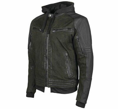 Speed & Strength Men's Straight Savage Leather-Canvas Jacket Size M Olive/Black