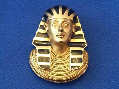 Vintage Large Egyptian Pharaoh  King Tut Signed E.Pearl Heavy Pendant Brooch