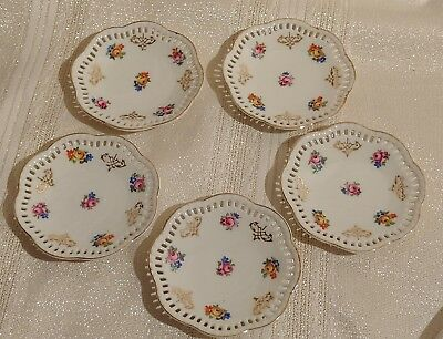"Lot of 5 Antique ""Bayer Ostmark""Vintage Butter Pats  3.25"" Gold Floral"