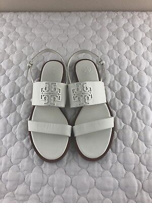 7086e2b030ce7 Tory Burch Ivory Leather Powder Coated Melinda Sandal Veg Nappa Size 7.5