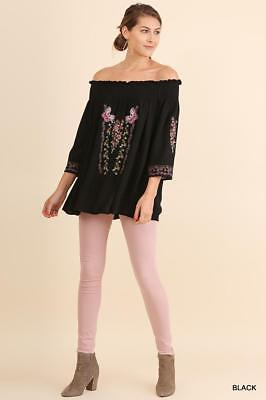 99280d62a1489 UMGEE BLACK 3 4 Sleeve Off Shoulder Tunic Floral Embroidery -  28.95 ...