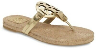 8581bd67d2eb Tory Burch NIB Miller Gold Mirror Metallic Leather Espadrille Flat Thong  Sandal