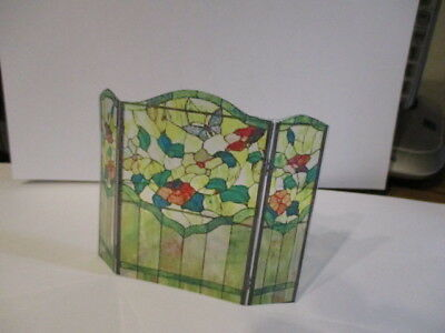 Dollhouse stained glass firescreen for 1:12 scale fireplace