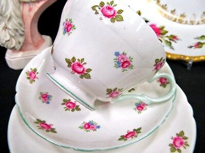 Shelley Tea Cup And Saucer Trio Rosebud Pattern Teacup Set Pink Roses