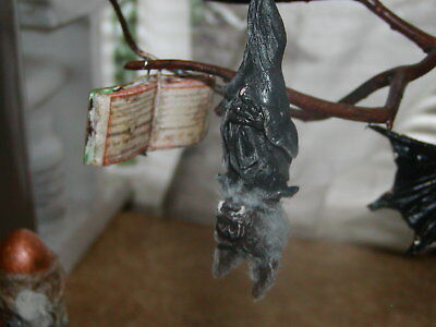 """Dollhouse Miniatures """"The Wolf Bat Who Love To Read"""""""