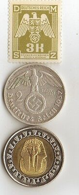 "-*WWII - *german  coin / stamp with *egyp. ""king TUT"" coin"