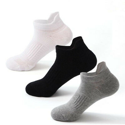 3Pairs Mens Solid Basketball Ankle Socks Anti-sweat Cycling Running Sports Socks