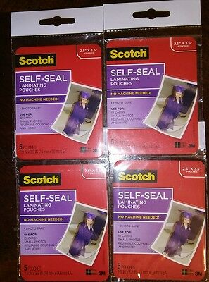 "Scotch Self-Sealing Laminating Pouches, 2.5"" x 3.5"", 4 Packages 20 Total Pouches"