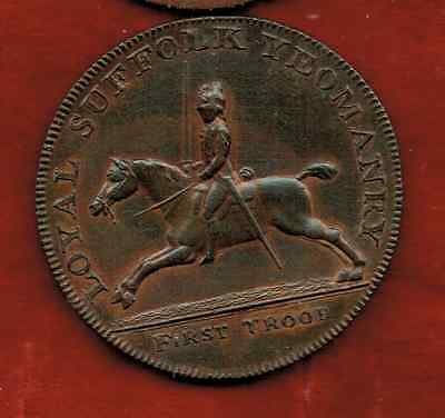 Loyal Suffolk Yeomanry Hundred Half Penny 1794.. Copper 8 Grams Au Red