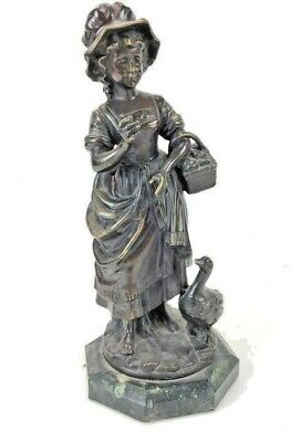 Vintage bronze figurine, European peasant with goose and basket of fruit. Signed