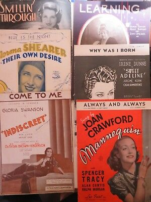 Collectible 1920/30 Female Hollywood Stars Sheet Music