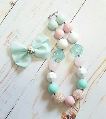 Handmade Chunky Gumball Necklace & Bow Hair Clip Child Size EUC Mint Light Pink
