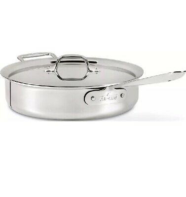 All-Clad 4404 Stainless Steel Tri-Ply Bonded 4qt Saute Pan with Lid - Brand New
