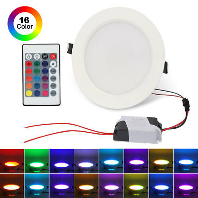 10W RGB LED Recessed Ceiling Panel Down Light Lamp 16 Color Change +IR Remote US