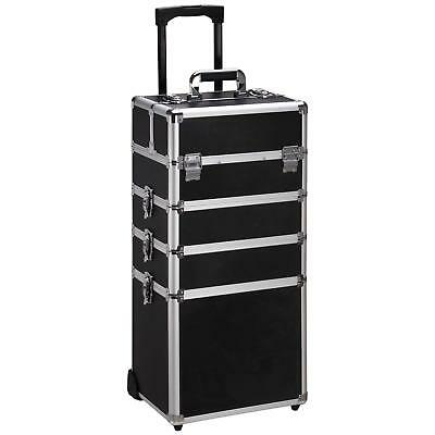 Professional 4 in 1 Rolling Makeup Case Aluminum Cosmetic Train Cases Trolley