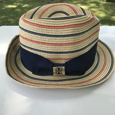 be6f6712 Tory Burch Paper Straw Fedora Hat - Striped Blue Ribbon - One Size