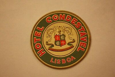 Vintage Hotel Condestavel Lisbon Portugal Water Decal Travel Vacation Luggage