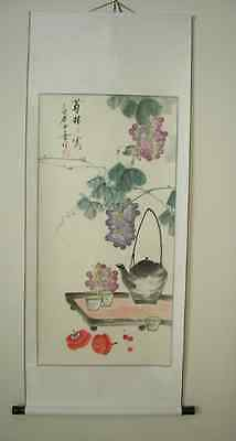 Chinese Scroll Painting Grapes and Tea Relax USA seller