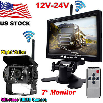 """Wireless 7"""" TFT LCD Monitor Vehicle Backup Rear View Camera System for Bus Truck"""