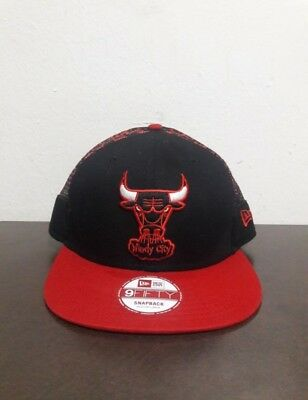 249c8b06b97 Chicago BULLS New Era 9FIFTY Black   Red Windy City SnapBack Cap Hat  Basketball