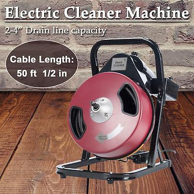 """Electric Drain Auger Drain Cleaner Machine 50FT 1/2"""" Drain Cleaner Machine"""