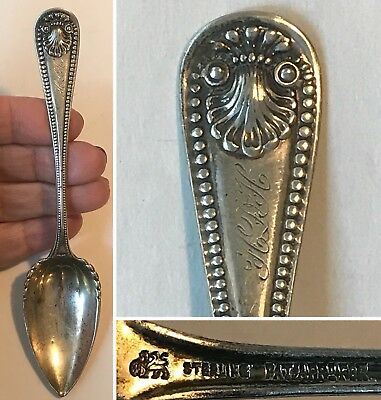 Antique WHITING Sterling Silver Grapefruit/Citrus Spoon 1880 BEAD Pattern